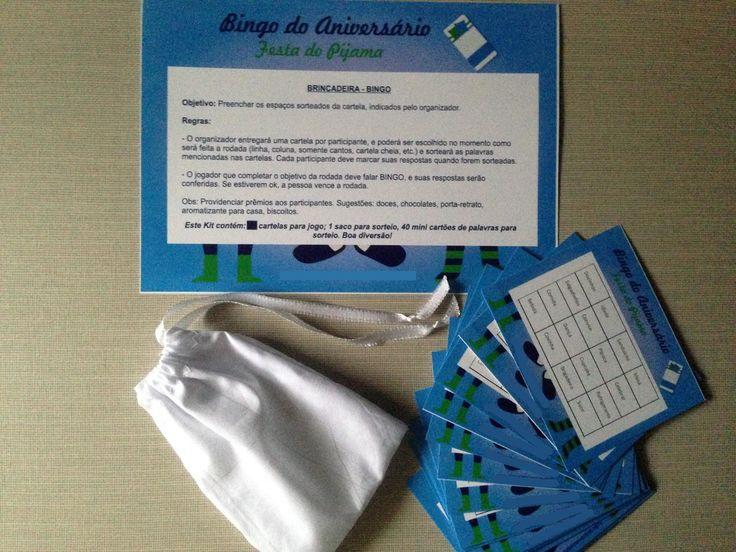 Bingo - festa do pijama: o tradicional jogo de bingo com cartelas personalizadas com itens de uma festa de aniversário. Este jogo pode ser personalizado com o nome do aniversariante e outras solicitações sob encomenda. Contém: 1 folha de instruções + 20 cartelas de bingo 10 cm x 8 cm + 1 saco ...