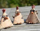 """Lot de 3 sculptures céramique en raku """"Les cocottes"""" - grandes craquelures"""