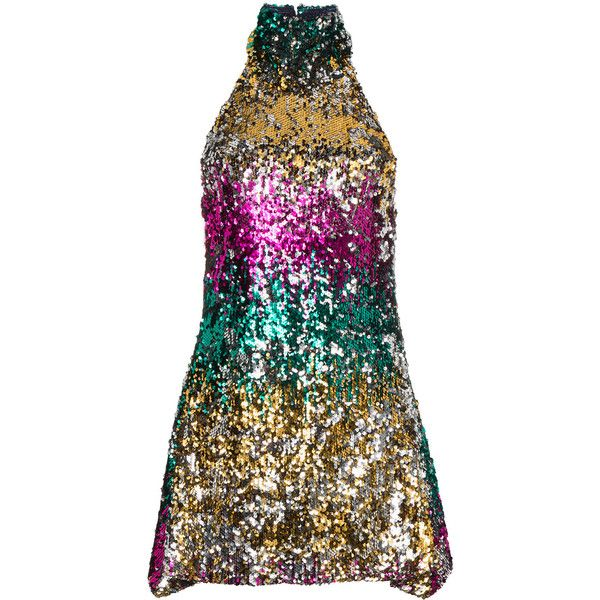 Halpern sequined halter mini dress ($1,744) ❤ liked on Polyvore featuring dresses, multicolour, halter cocktail dress, short sequin cocktail dresses, short halter dress, multi color sequin dress and halter-neck dresses