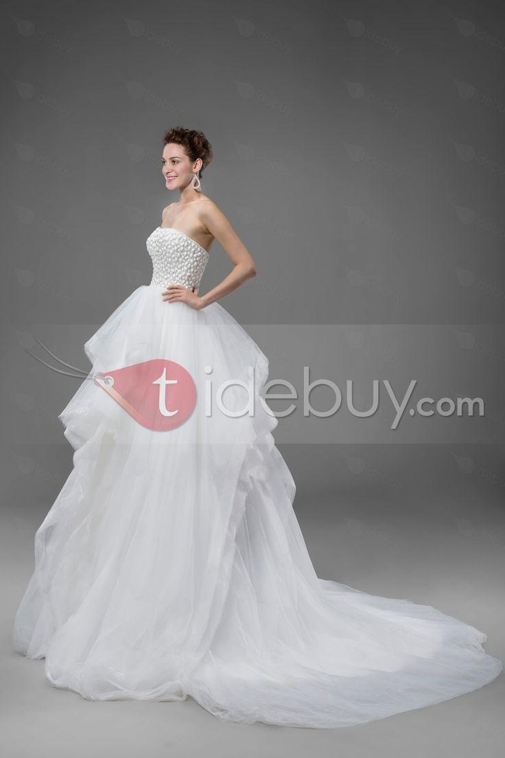 優雅なストラップレスビーズのチャペルのトラインフリルウェディングドレス