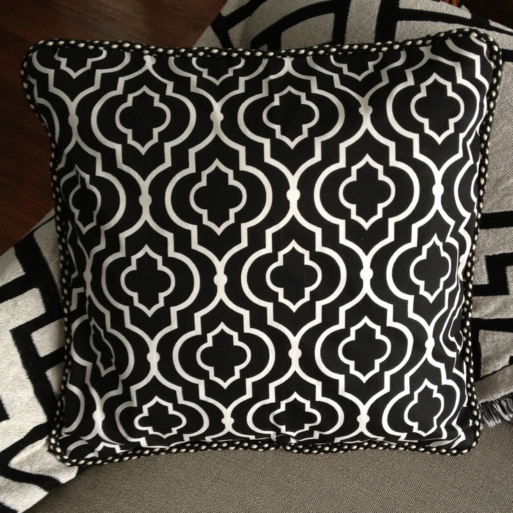Just made this graphic black and white throw pillow for the living room!