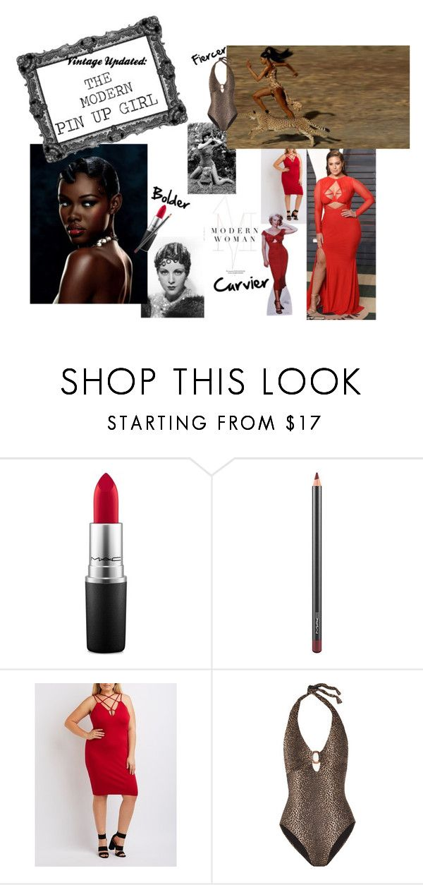 """VINTAGE UPDATED"" by aritreschic ❤ liked on Polyvore featuring MAC Cosmetics, Charlotte Russe, Ashley Graham, Bettie Page, Naomi Campbell, Melissa Odabash, modern, vintage, pinup and plus size dresses"