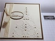 Relief embossing Christmas tree in gold