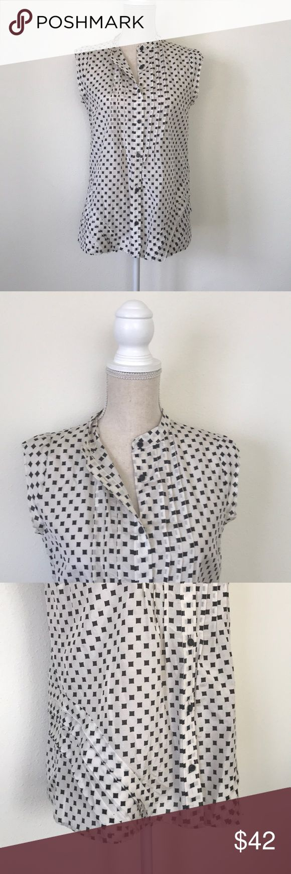 Marc by Marc Jacobs Button Down Blouse Pre-loved  Bone color with black squares  (off white) Pleats on front and sides Cotton silk blend  Size XS but runs big Very lightweight Adorable tucked into dress pants or a skirt  Offers welcome! Thanks 💞 Marc By Marc Jacobs Tops Button Down Shirts