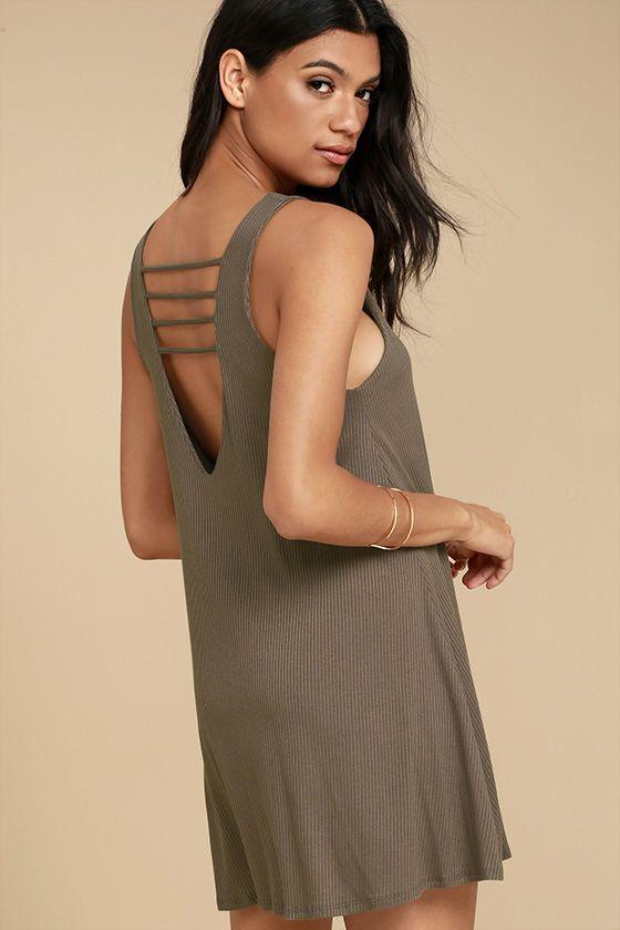 Lucy Love Cage Dress - Brown Mini Dress - Swing Dress - Strappy Dress - $51.00