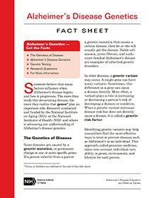 Alzheimer's Disease Genetics Fact Sheet  (NIA)