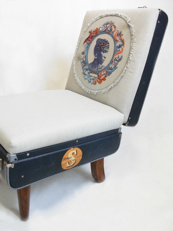 Suitcase Chair – Ellerman Lines Embroidered Cameo