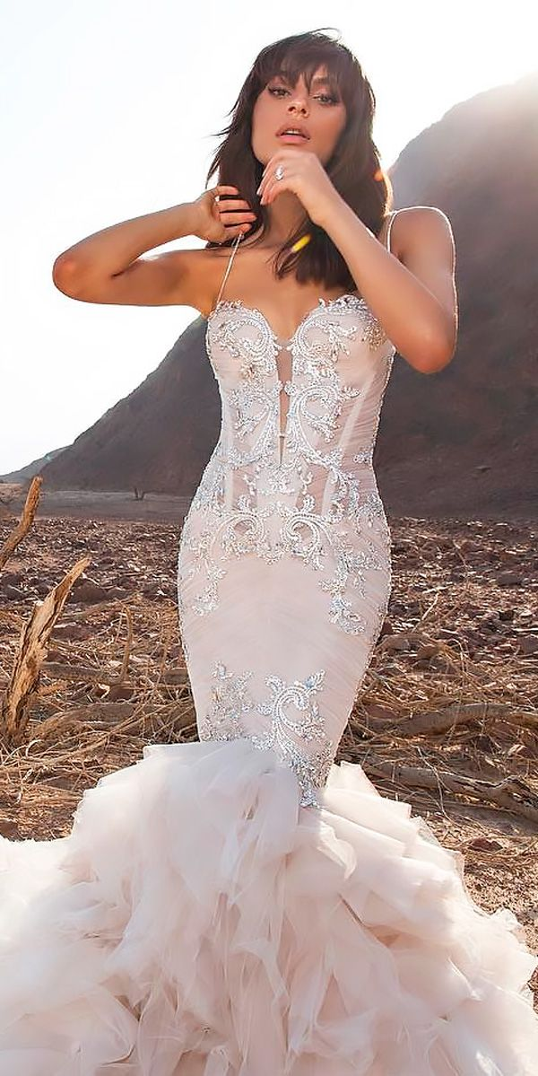 27 Mermaid Wedding Dresses You Admire ❤ mermaid wedding dresses flattering sweetheart neck spaghetti straps lace pnina tornai ❤ See more: http://www.weddingforward.com/mermaid-wedding-dresses/ #weddingforward #wedding #bride #bridalgown