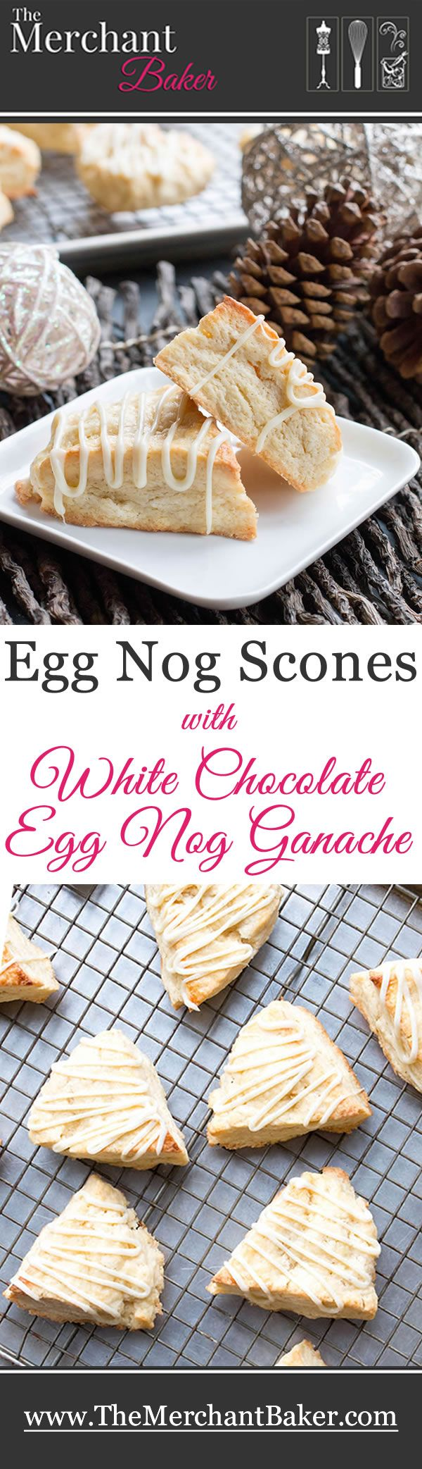 Egg Nog Scones with White Chocolate Egg Nog Ganache. Rich, buttery egg nog scones are drizzled with a creamy ganache & spiced with freshly grated nutmeg!