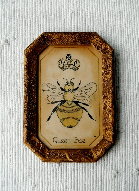 Primitive painting of a queen bee by primitivehand on Etsy, $89.00