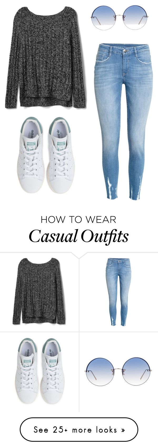 """Casual Saturday"" by nonomournersnofunerals on Polyvore featuring Gap, H&M, adidas and Linda Farrow"