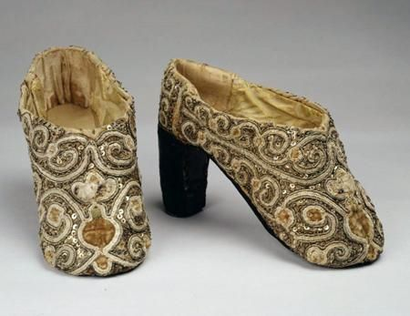 Tzarina's shoes, Russia, embroidery with pearls and beads, the mid of the 17th century ~