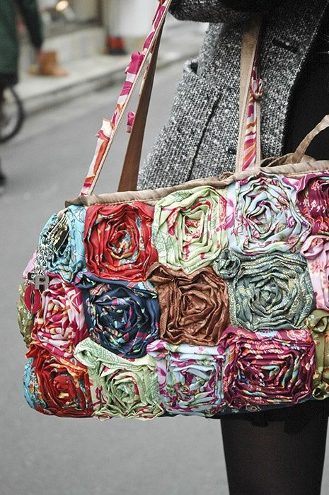 Rag rose embellishment on any tote.