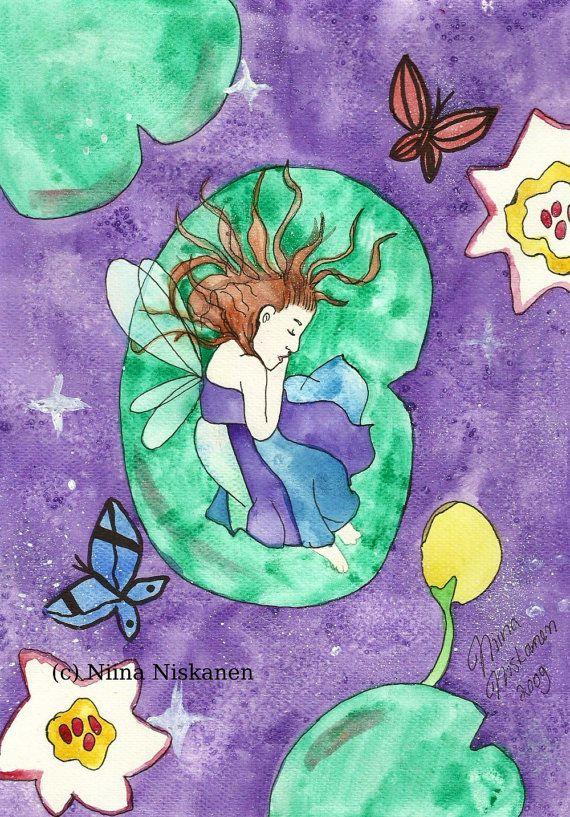 Original Fairy Art Lily Flower Fairy Child of Lilies Fairy Girl Fantasy Art Watercolor Painting Nursery Wall Art Art for Children