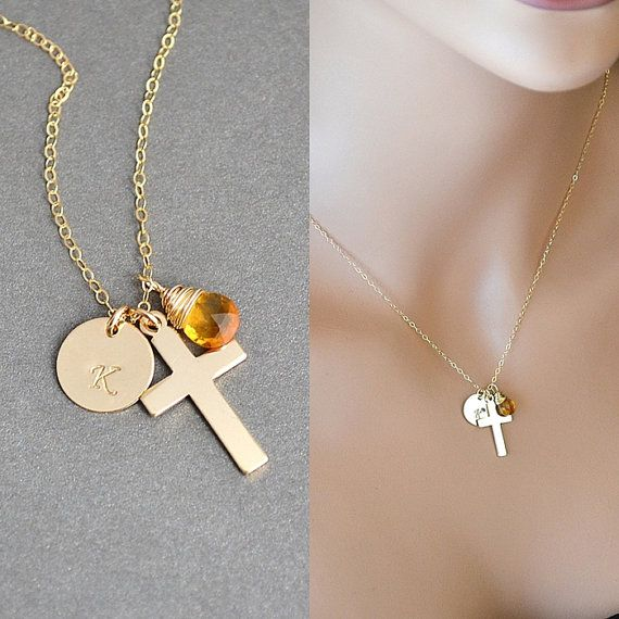 Check out SALE 10% Initial Cross Necklace, Jesus Necklace, Crucifix Necklace, Initial and Birthstone, Faith Necklace, Silver Cross necklace on malizbijoux