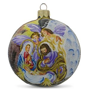 Angels Admiring Jesus Christmas Religious Hand Blown Glass Ball Ornament Holiday Gift Idea