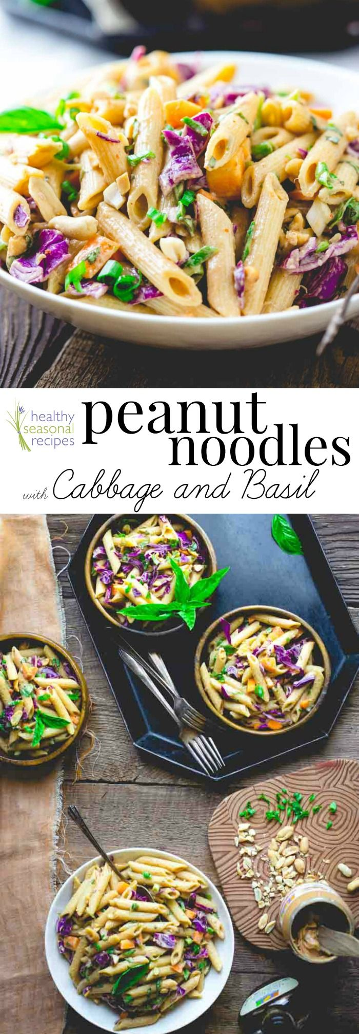 Sponsored: peanut noodles with cabbage and basil - Healthy Seasonal Recipes | Vegan and only 15 minutes of prep!