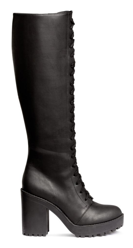black platform heel lace up high boots ♥