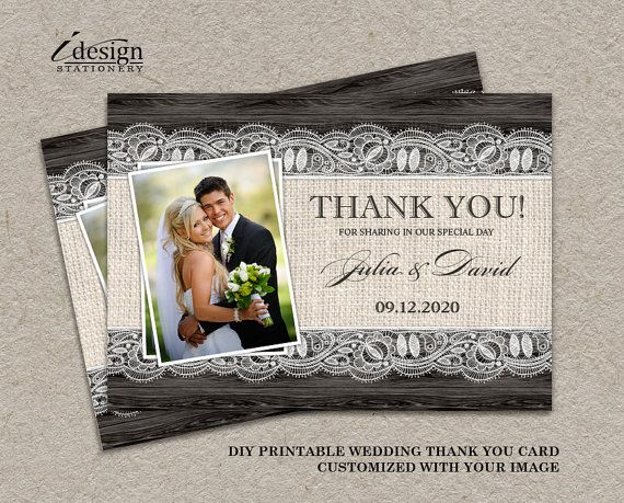 Rustic Wedding Photo Thank You Cards by iDesignStationery on Etsy