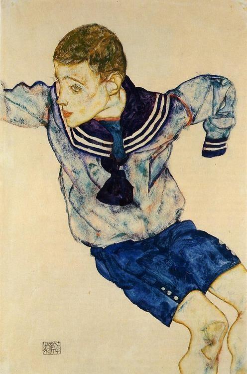EGON SCHIELE. Boy In a Sailor Suit, 1913, watercolor on paper. Expressionism.
