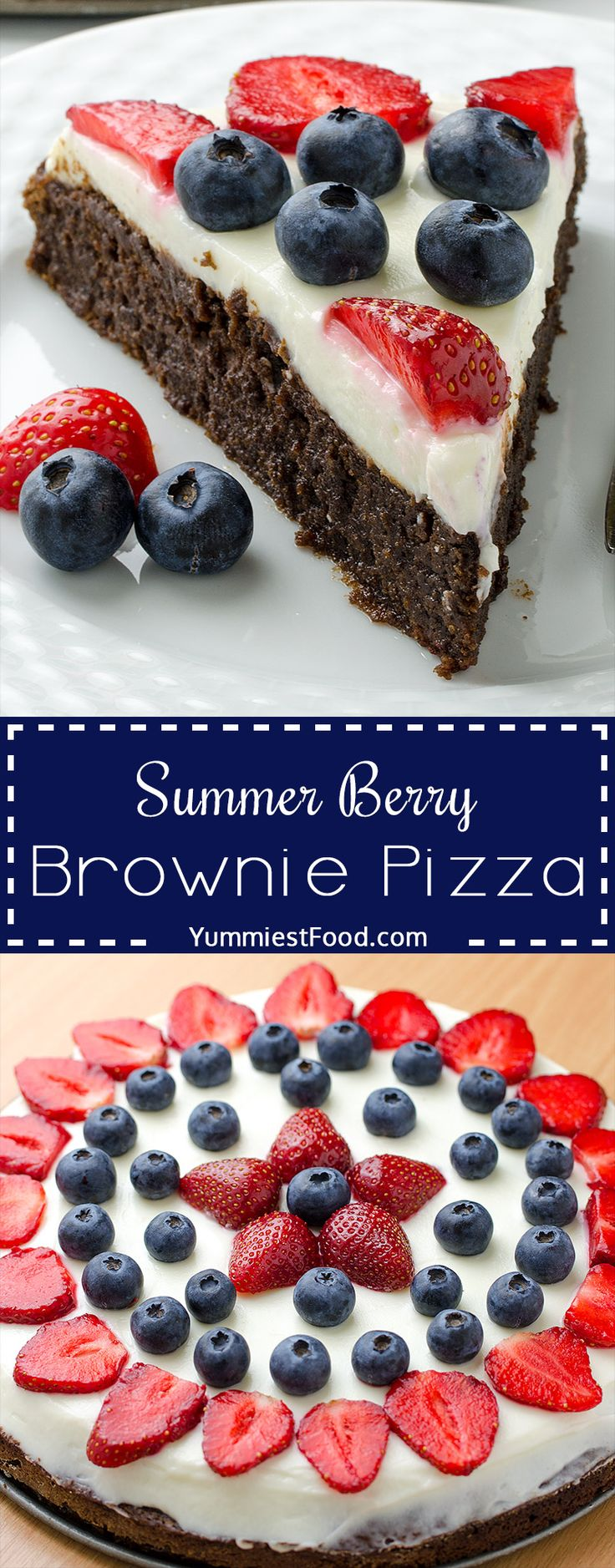 Summer Berry Brownie Pizza - make a sweet dessert pizza with delicious brownie crust topped with cream cheese frosting and loaded with lots of berries! Great recipe for the Great Memorial Day or 4th of July!
