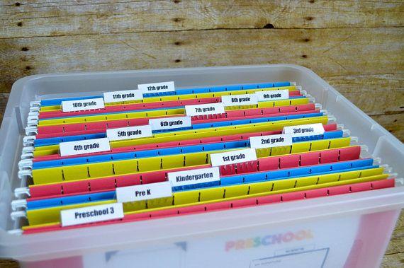 Memory Tote School File Keepsake Organizing Bin Etsy School Paper Organization School Memorabilia Kids School Papers