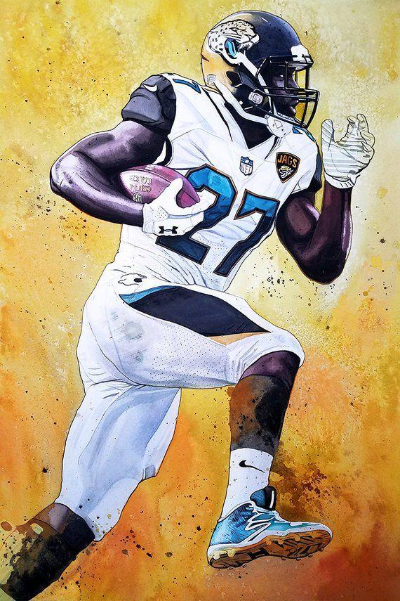 Leonard Fournette Jacksonville Jaguars 18x28 Original Etsy In 2020 Original Watercolor Painting Jacksonville Jaguars Sports Art