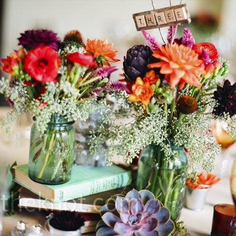 Fall flowers: Blue Mason Jars, Floral Centerpieces, Color, Scrabble Tile, Book, Tables Numbers, Flower, Center Pieces, Scrabble Letters