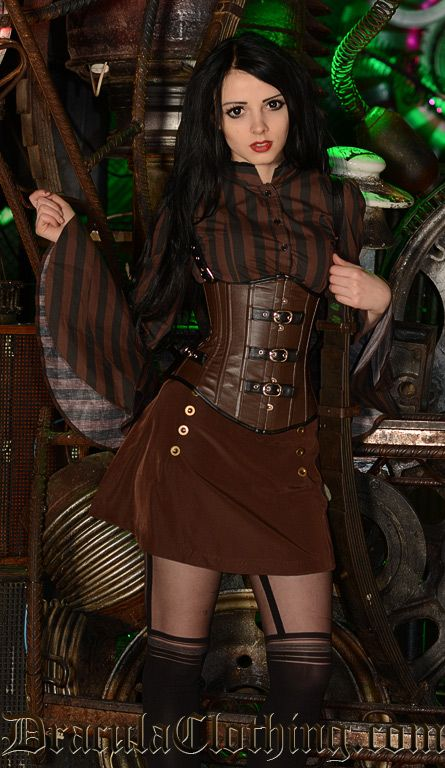 From our steampunk shoot:Corset: http://draculaclothing.com/index.php/faux-leather-buckle-corset-p-1655.htmlSkirt: http://draculaclothing.co...