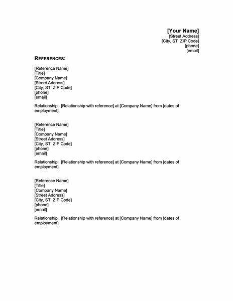References Template - 40 Professional Reference Page / Sheet