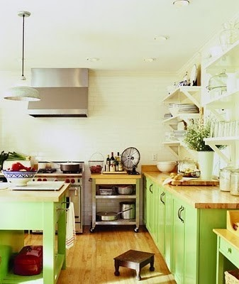 Kitchen - This color green with the bamboo and stainless steel. Add in some lemon yellow and a tiny bit of pale blue,