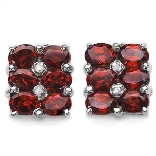 Edle 3,02 Carat Granat Diamant Ohrstecker, Ohrring, 925 Silber, Top