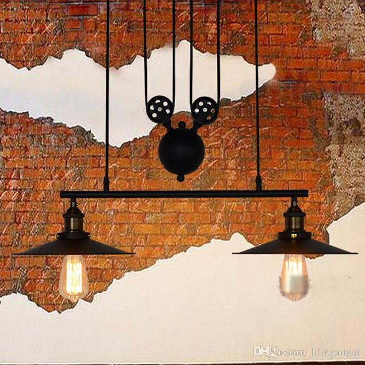 RH Освещение Винтаж Промышленные Шкив Подвесные Светильники Loft Американский Регулируемый Провода 3 Головки Шкив Света Эдисон Подвесные Светильники