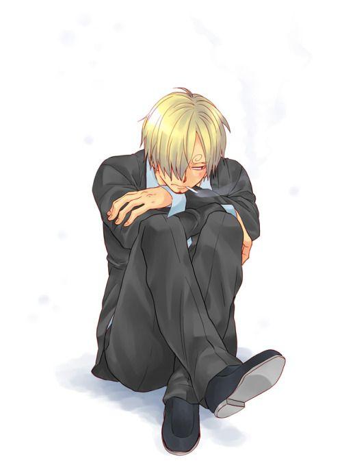 現実逃避用 by えどこ   Aw, he looks depressed. Quick someone get Nami or Robin to give him a hug. That'll snap him out of it.