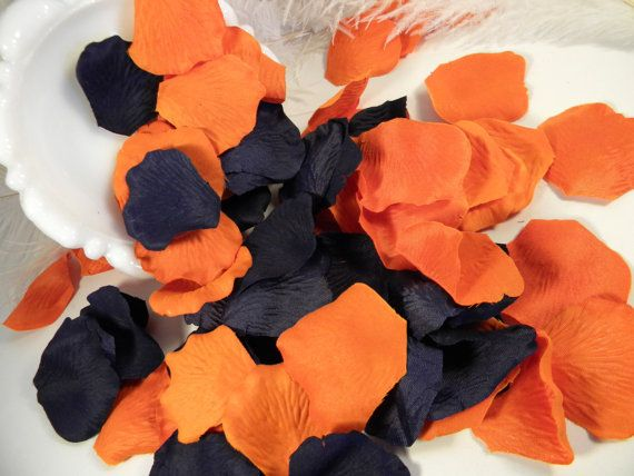 200 Rose Petals Bulk Artifical Navy Blue and Burnt by MorrellDecor