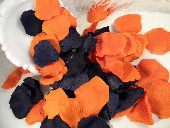 200 Rose Petals Bulk, Artifical, Navy Blue and Burnt Orange Wedding Decoration, Romantic, Flower Girl Basket Petals, Embellishment, Fall