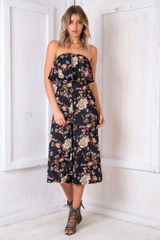 3e4ab4829757 Natalia Jumpsuit - Black Floral SALE - Stelly
