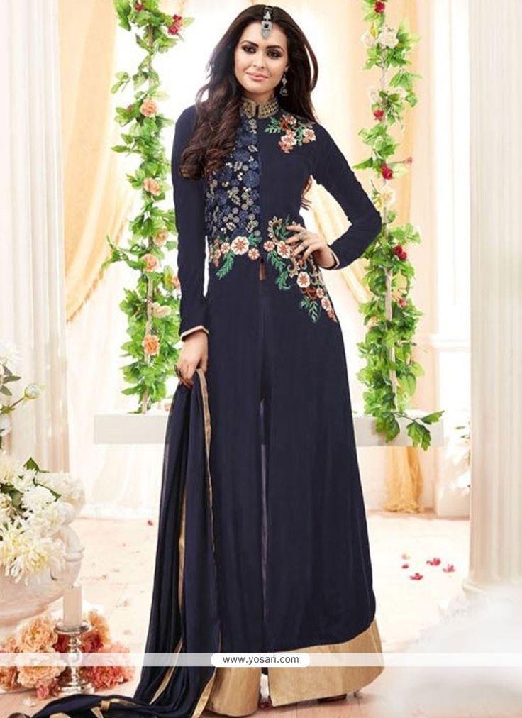 Cherubic Georgette Navy Blue Palazzo Designer Salwar Suit Model: YOS8668