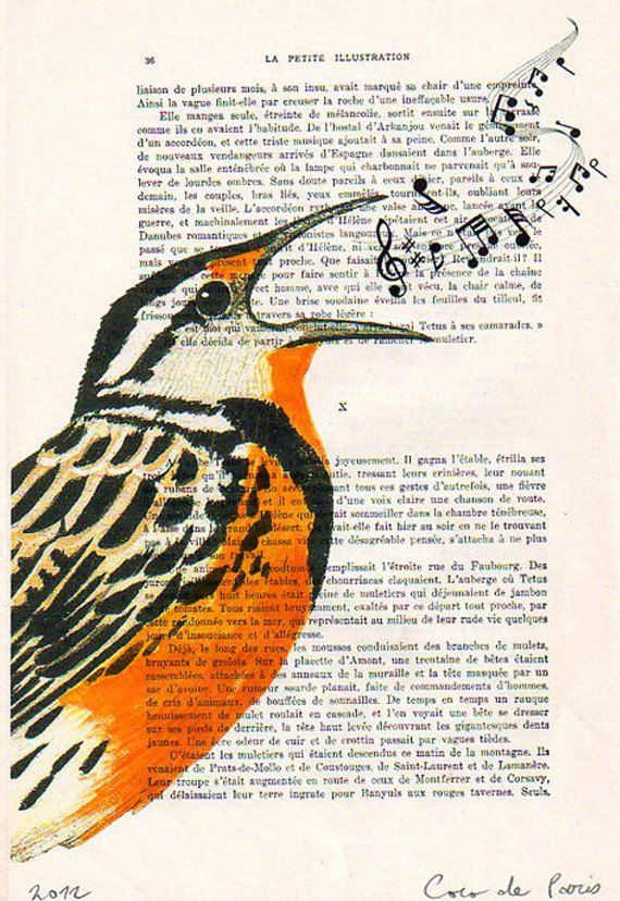 Drawing Illustration Giclee Prints Posters Mixed Media Art Acrylic Painting Holiday Decor Gifts: SINGING BIRD