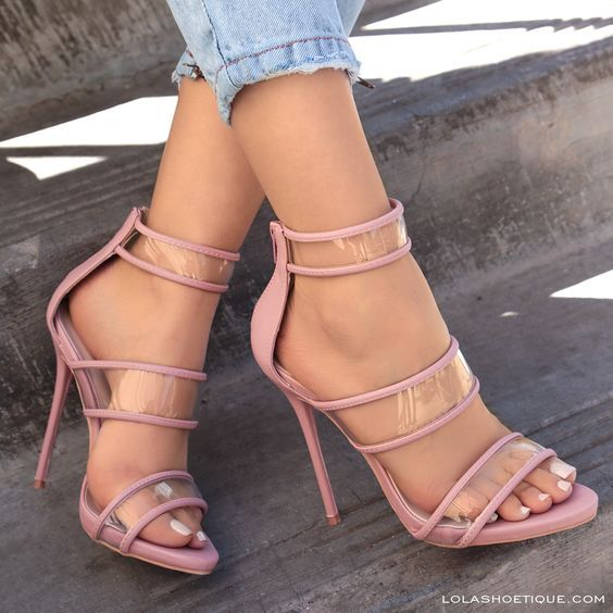 Clearly Extra #lolashoetique #heels #sotd #highheels #clear #trend #trendy #fashion #haute #hot #sexy #style #ootd #denim #blush #pink #strappy