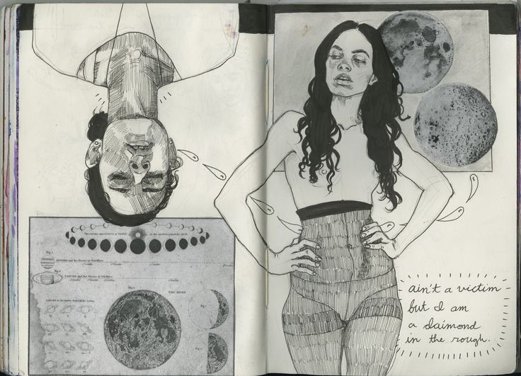 https://flic.kr/p/i6ST2Q | Art Journal 8 pages 142-144 | self portrait, my obsession with the moon, and more M.I.A.