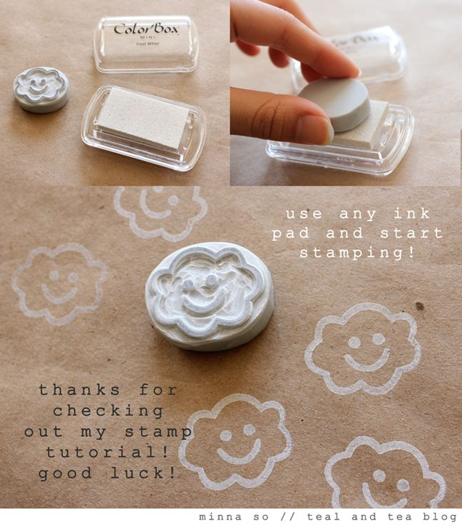 Teal tea diy hand carved stamp tutorial fina
