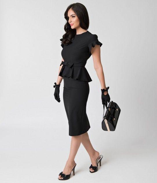 Stop Staring! 1940s Style Black Peplum Cap Sleeve Willow Wiggle Dress