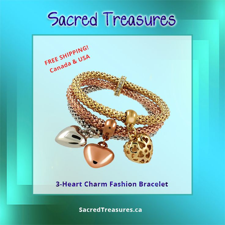 Trendy 3-Heart Charm Fashion #Bracelet  Find it here: https://sacredtreasures.ca/collections/bracelets/products/3-heart-charm-bracelet  #charmbracelets #jewelry #jewelery #fashionjewelry