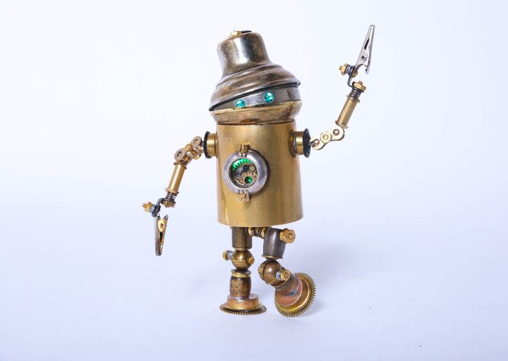 Steampunk Robot Posable Artisan Lights Hand Crafted Brass by 4PDX