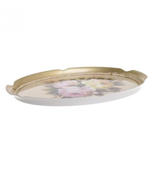 PL OVAL TRAY W_FLOWERS IN GOLDEN COLOR 42X29X2