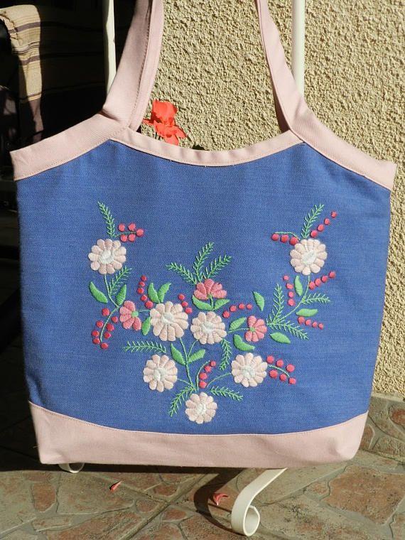 Marguerite embroidery handbag, Denim shoulder bag, Hand embroidered shoulder bag