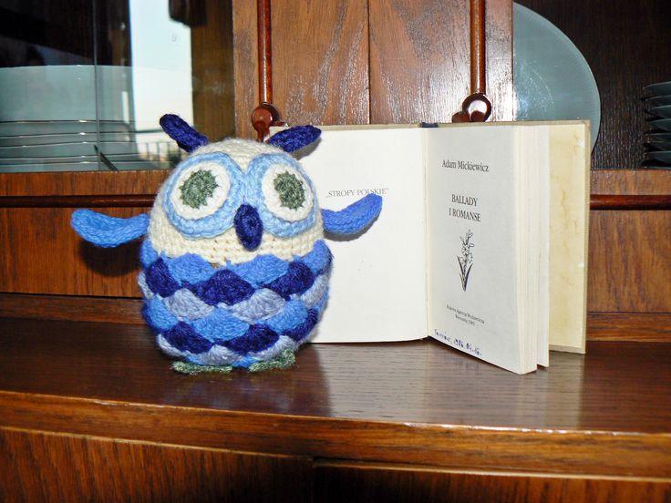 Crochet owl - bibliophile.