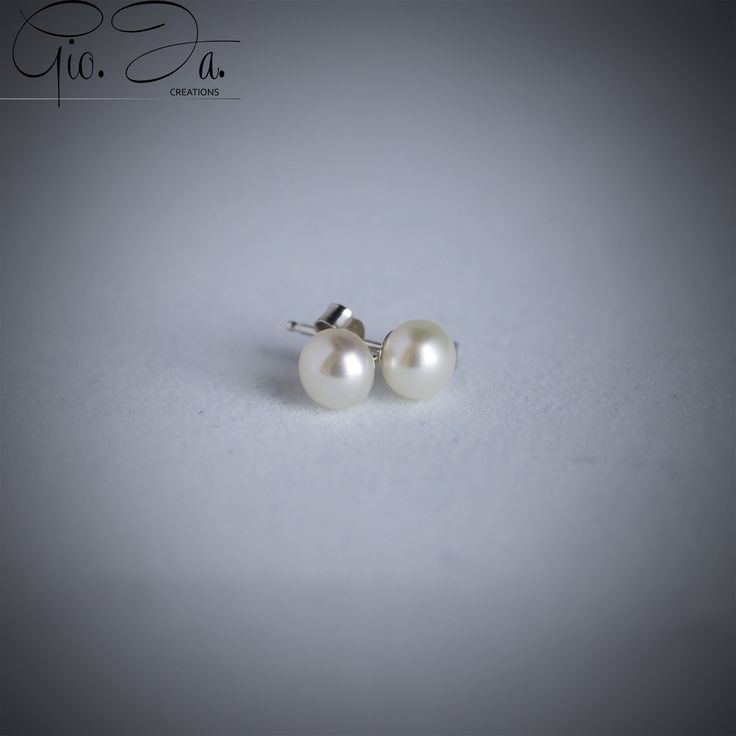 Freshwater Pearls Button Earrings 5mm White