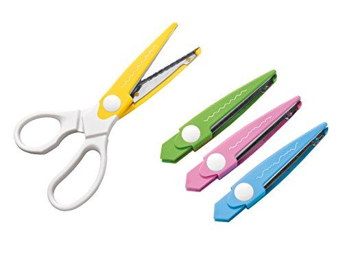 Premium Quality 4 in 1 Craft Scissors For embellishing photo albums, scrapbooks, greeting cards or gift packaging (1 grip and 4 exchangeable scissor blades with classic cutting patterns) Crelando http://www.amazon.co.uk/dp/B00KV1AFNA/ref=cm_sw_r_pi_dp_4aHnwb1A035EK